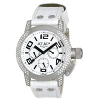 JETSET San Remo Small White Leather Chronograph J3064S-131