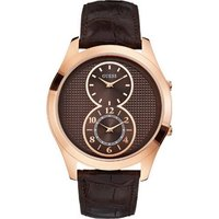 GUESS Dual Time Rose Gold Brown Leather Strap W0376G3