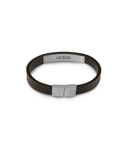 GUESS Logo Leather Stainless Steel Bracelet UMB28031