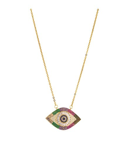 BREEZE Handmade Evil Eye Gold Stainless Steel Zircons 60cm Necklace 410007.1