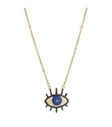 BREEZE Handmade Evil Eye Gold Stainless Steel Zircons 45cm Necklace 410008.1