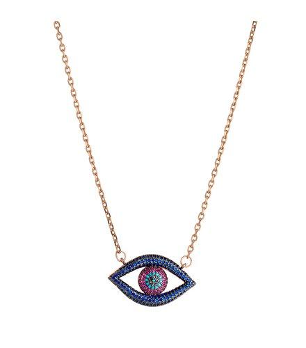 BREEZE Handmade Evil Eye Rose Gold Stainless Steel Zircons 45cm Necklace 410009.3
