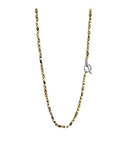 BREEZE Handmade Long Rosary Gold Metal Cord Hematite 100cm Adjustable Necklace 410014.1
