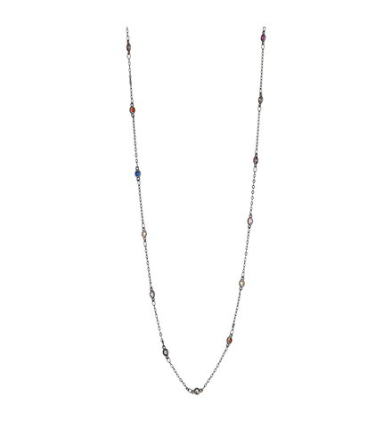 BREEZE Handmade Long Station Gun Metal Metal Crystals 100cm Necklace 410018.9B