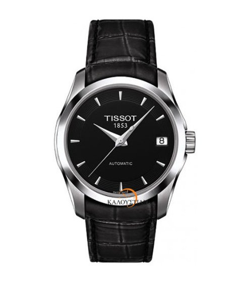 TISSOT T-Trend Couturier Lady Automatic Black Leather Strap ... eca567a6877