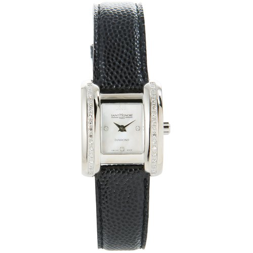SAINT HONORE Diamonds Black Leather Strap 7113442YRD