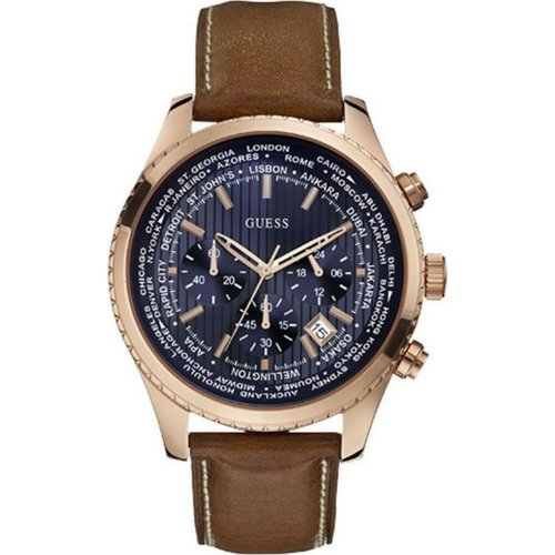 GUESS Pursuit Rose Gold Brown Leather Chronograph W0500G1