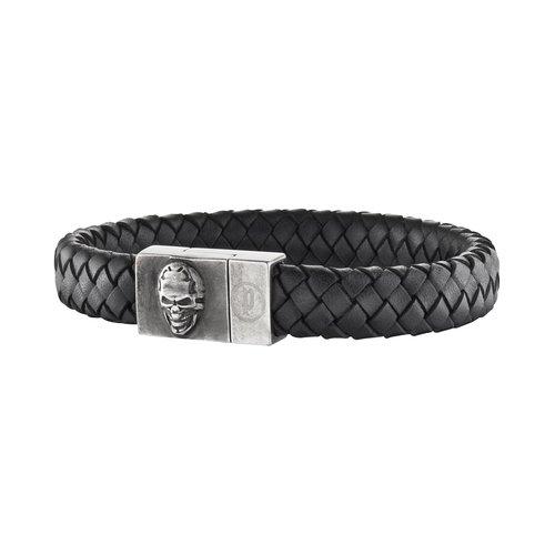 POLICE Eternal 20cm Leather Stainless Steel Bracelet 25686BLB-01L