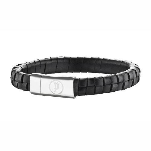 POLICE Connector Leather Stainless Steel Bracelet 20cm 25689BLB-01LL