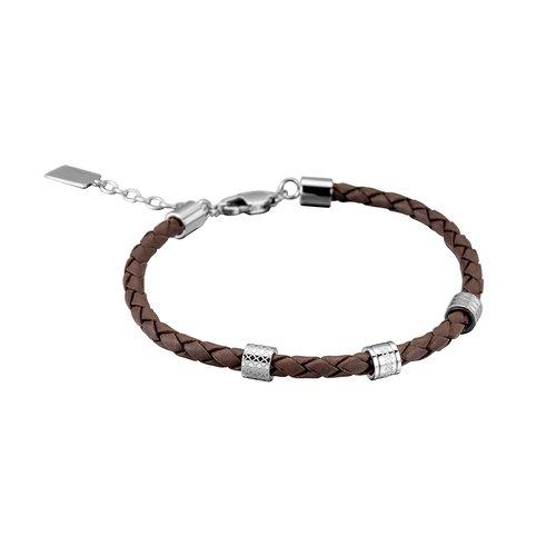 JUST CAVALLI Rock Leather Stainless Steel Bracelet JCBR50020100