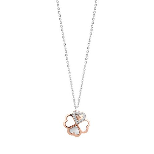 GUESS Two Tone Hearts Necklace UBN83003