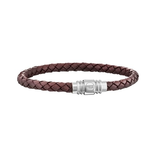 POLICE Style Leather Stainless Steel Bracelet 20cm 25890BLC-02L