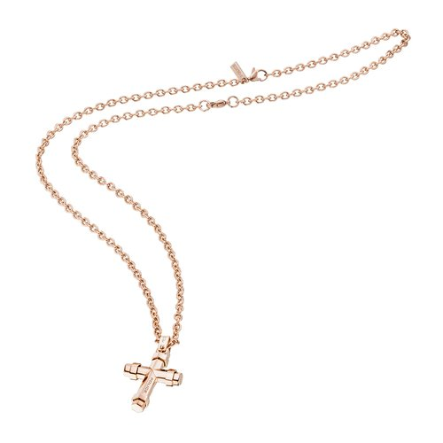 POLICE Blaze Rose Gold Stainless Steel Necklace 70cm 26038PSRG-02