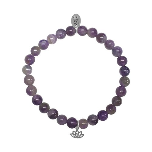 CO88 Celestial Bead Bracelet Amethyst Adjustable 8CB-17041