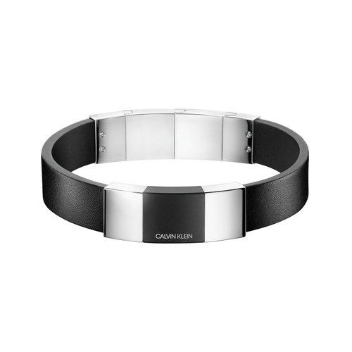 CALVIN KLEIN Strong Leather Stainless Steel Bracelet KJ9LMB290100