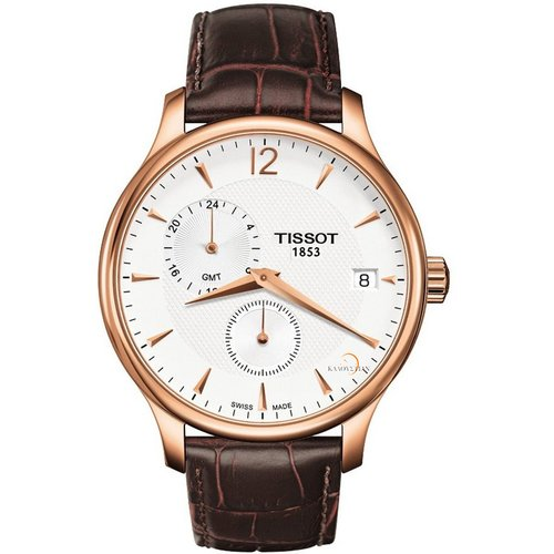 Tissot Tradition GMT Stainless Steel Rose Gold Watch T0636393603700