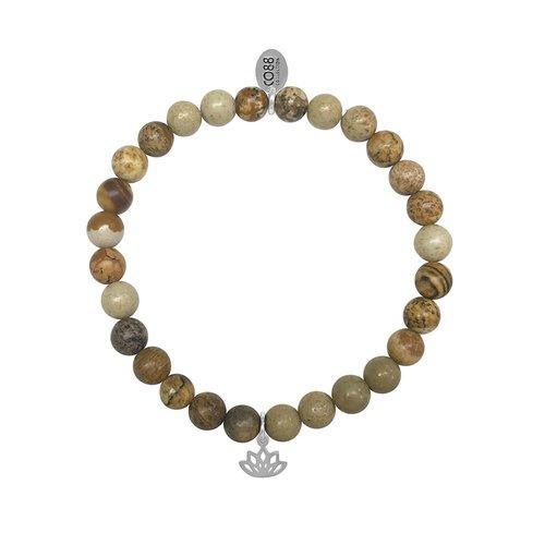CO88 Stainless Steel Natural Stones Adjustable Bracelet 8CB-17045