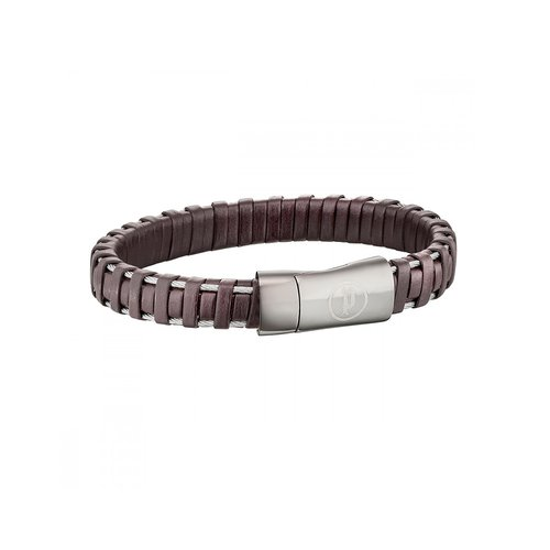 POLICE Spiral Leather Stainless Steel Bracelet 25897BLE-02L