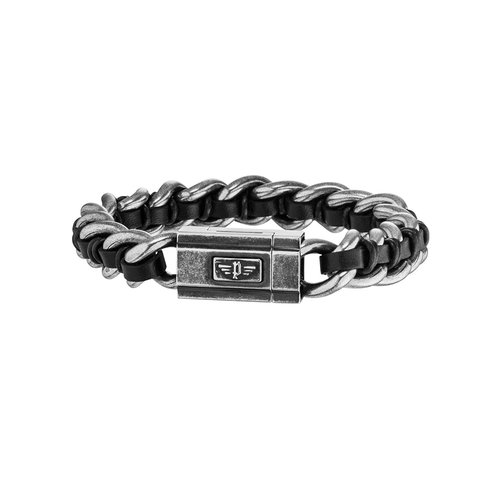 POLICE Shock II Leather Stainless Steel Bracelet 26052BSE-01S