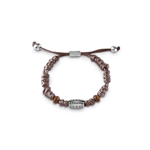 GUESS Logo Leather Stainless Steel Bracelet UMB85015
