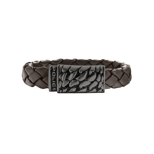 POLICE Alligator Leather Stainless Steel Bracelet 25729BLC-02S