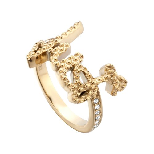JUST CAVALLI Logo Gold Stainless Steel Ring JCRG00590206