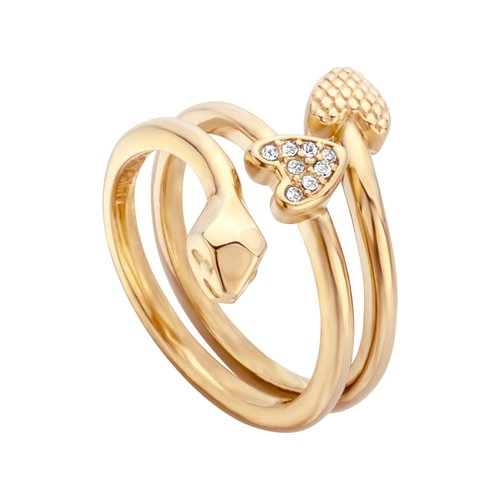 JUST CAVALLI Logo Gold Stainless Steel Ring JCRG00620207
