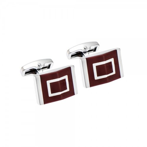 SENZA Silver Brass Red Cufflinks SSD1749