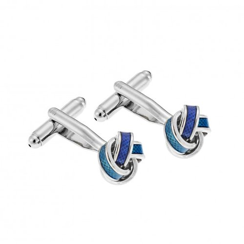 SENZA Silver Brass Bue Cufflinks SSD3953