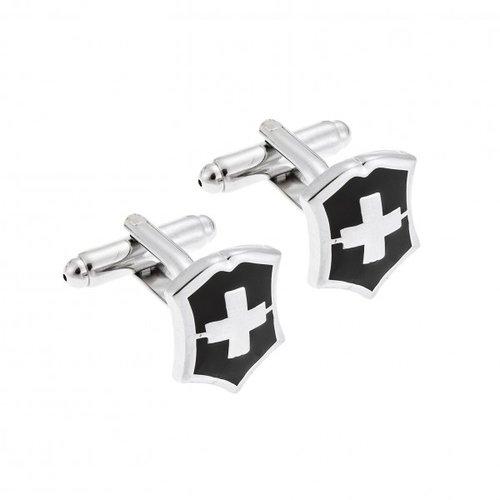 SENZA Silver Brass Black Cufflinks SSD3958