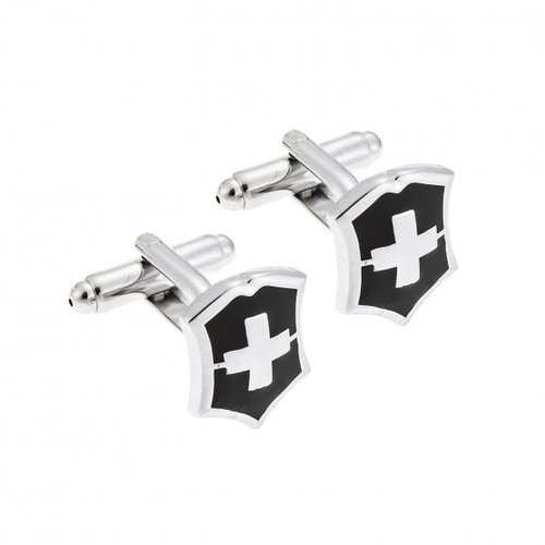 SENZA Silver Brass Black Cufflinks SSD3958