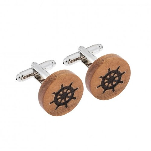 SENZA Wood Silver Brass Cufflinks SSD3973