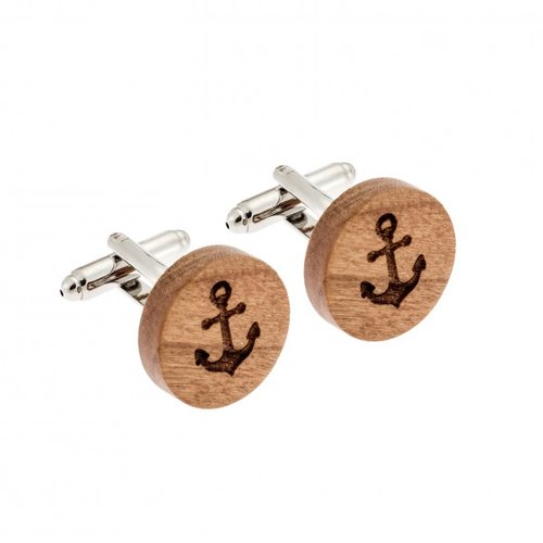 SENZA Wood Silver Brass Cufflinks SSD3974