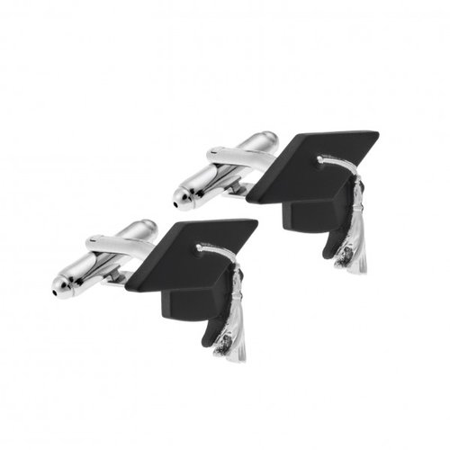 SENZA Silver Brass Black Cufflinks SSD3983