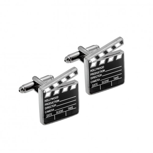 SENZA Silver Brass Black Cufflinks SSD3994