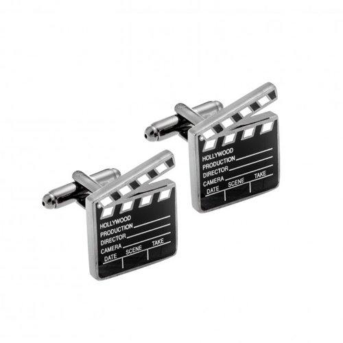 SENZA Silver Brass Black Cufflinks SSD3994
