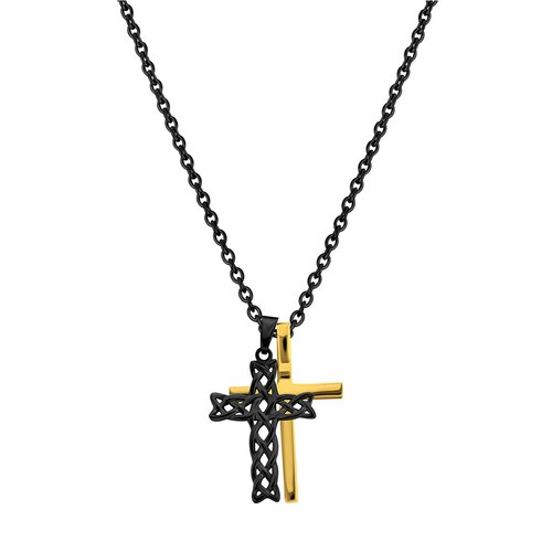 POLICE Struve Black Gold Stainless Steel Necklace 70cm 26571PSBG-03