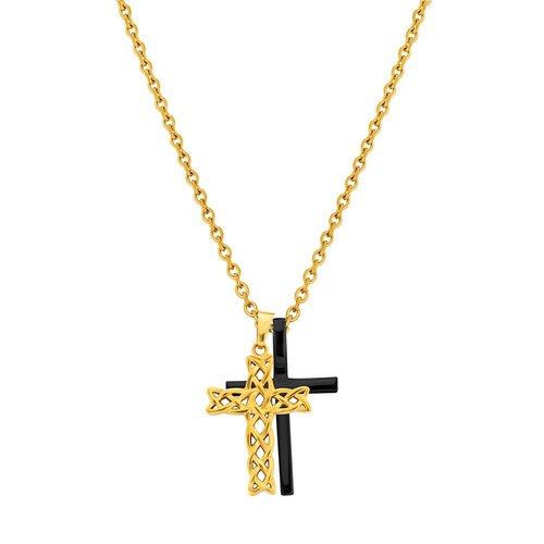 POLICE Struve Gold Black Stainless Steel Necklace 70cm 26571PSGB-02