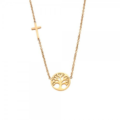 SENZA Steel Gold Plated Necklace SSD3386GD