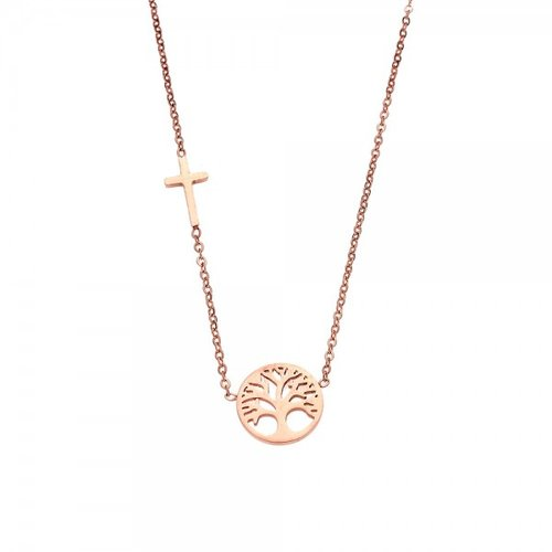 SENZA Steel Rose Gold Plated Necklace SSD3386RG