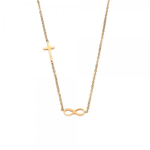 SENZA Steel Gold Plated Necklace SSD3387GD
