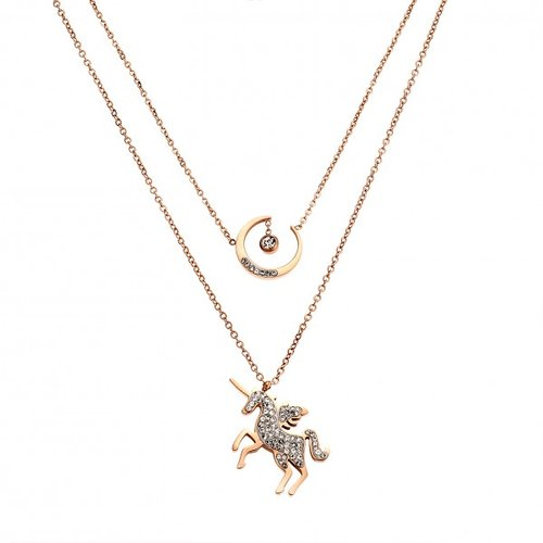 SENZA Steel Rose Gold Plated Necklace SSD4035RG