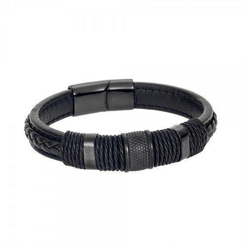 SENZA Steel Leather Bracelet SSD4239BK