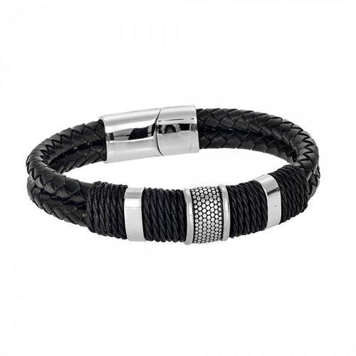 SENZA Steel Leather Bracelet SSD4239SR