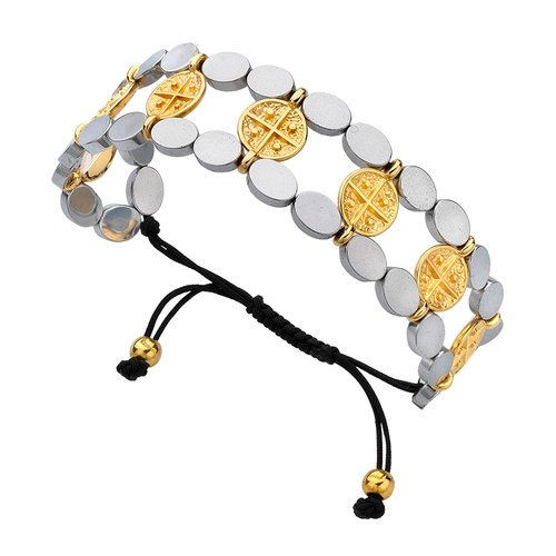 BREEZE Handmade Constantinato Two Tone Metal Cord Hematite Adjustable Bracelet 310002.5