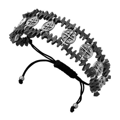 BREEZE Handmade Constantinato Silver Metal Cord Hematite Adjustable Bracelet 310004.8