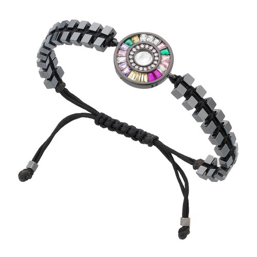 BREEZE Handmade Crystals Metal Cord Hematite Adjustable Bracelet 310005.2