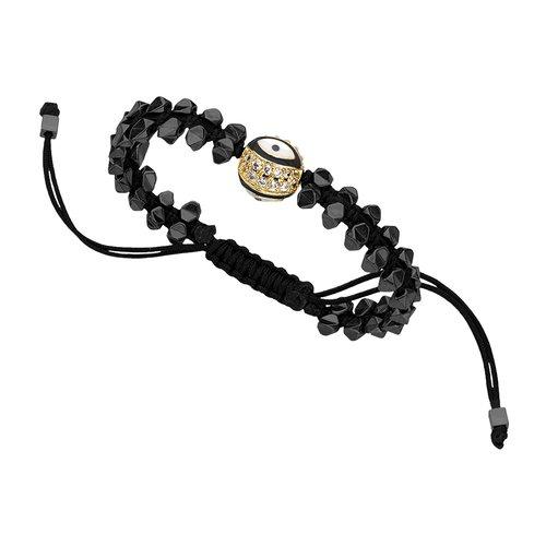 BREEZE Handmade Macrame Evil Eye Gold Metal Hematite Adjustable Bracelet 310007.11