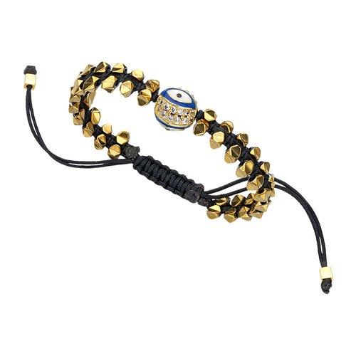BREEZE Handmade Macrame Evil Eye Gold Metal Hematite Adjustable Bracelet 310007.1