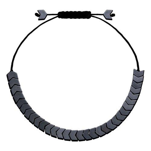 BREEZE Handmade Arrow Cord Hematite Adjustable Bracelet 310008.2